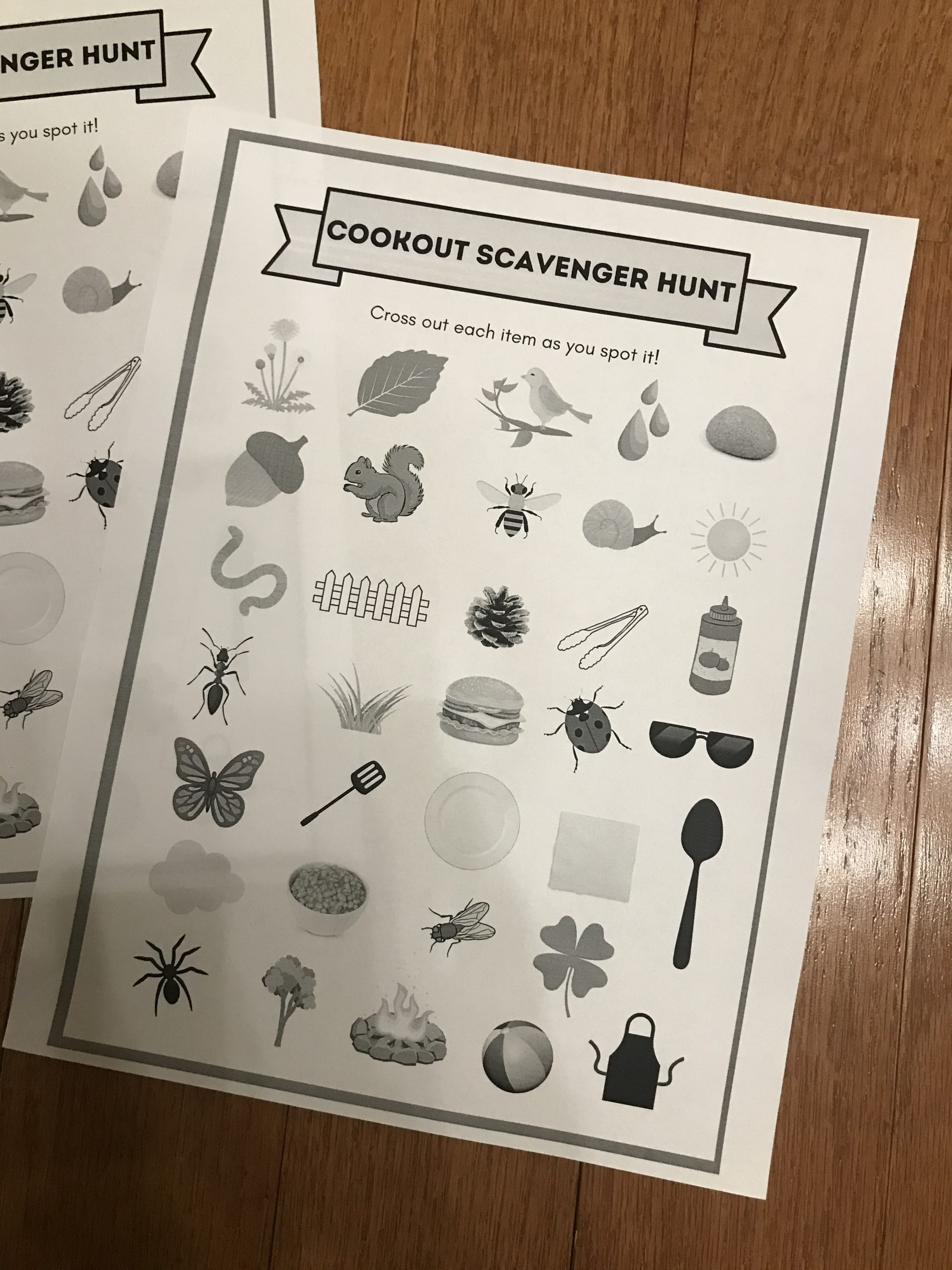 Cookout Scavenger Hunt Printable Game for your outdoor backyard BBQ
