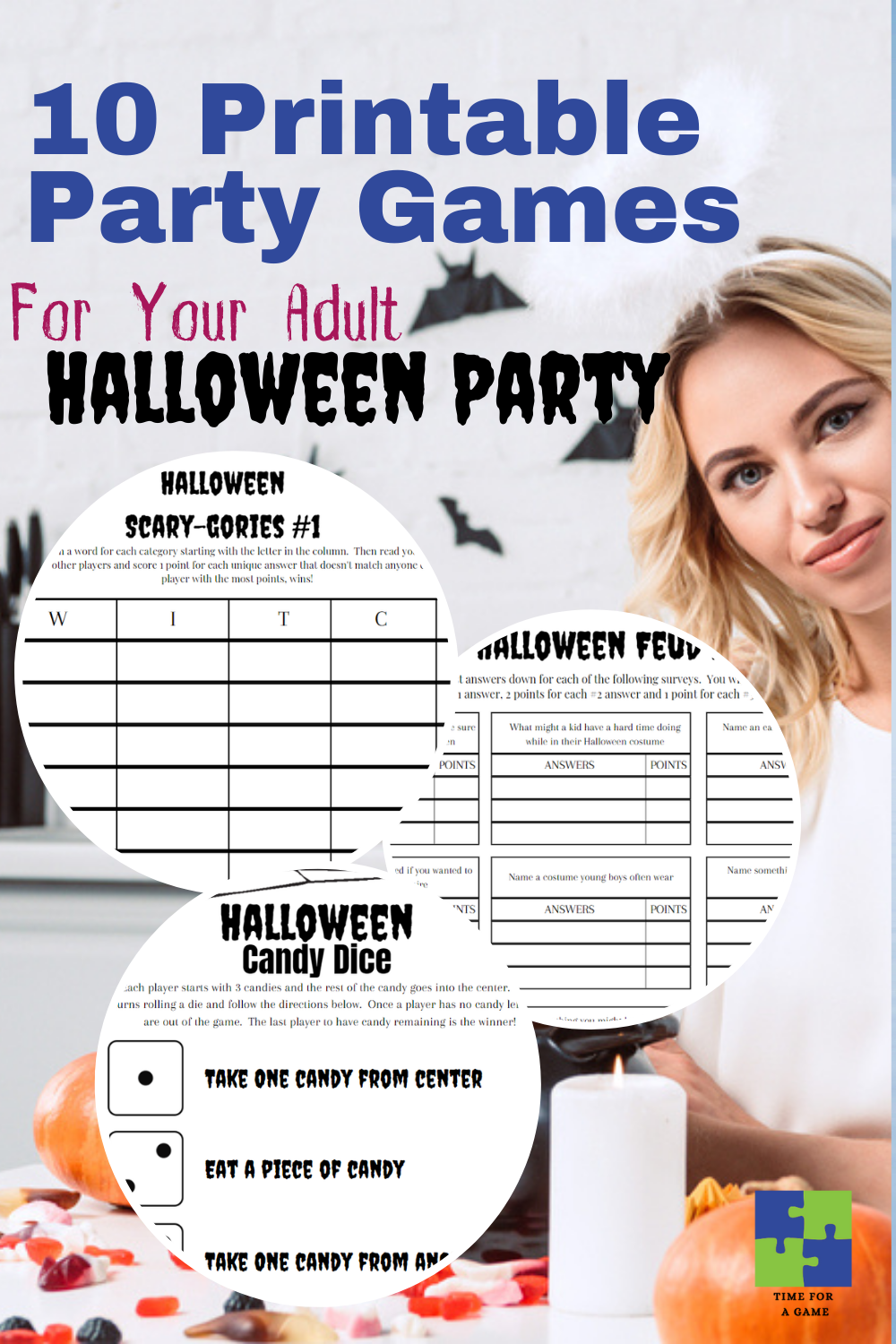 If you are looking for fun games to play at your adult Halloween party, check out these 10 options including Feud and Scary-gories! #Halloween #Halloweenparty #partygames #printable #printables #Halloweenprintable #Halloweenpartygames