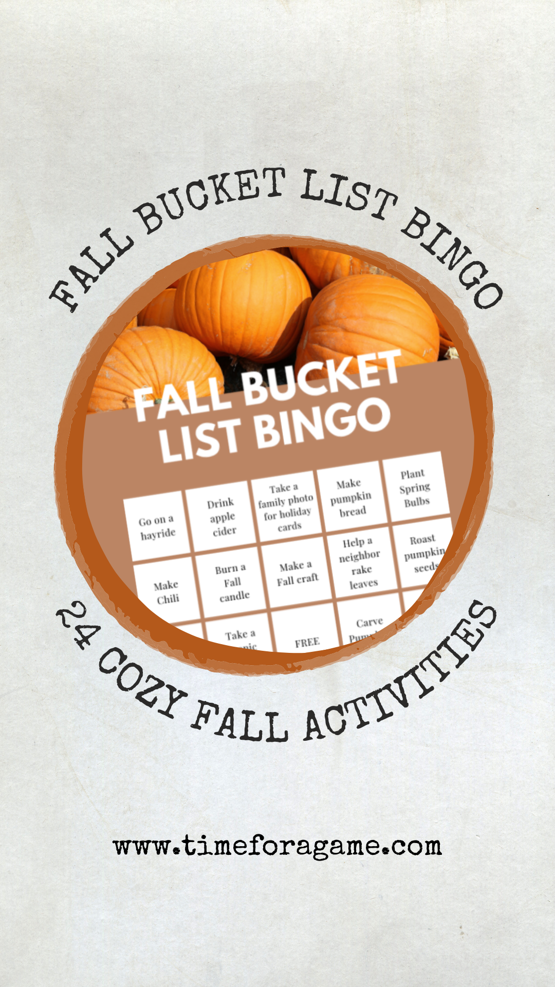 Throw on your coziest sweater and get ready to sip that pumpkin spiced latte because Fall is just around the corner!  Here is a fun way to start thinking about the Fall things you would like to mark off your bucket list!  #bucketlist #fall #autumn #bingo #timeforagame